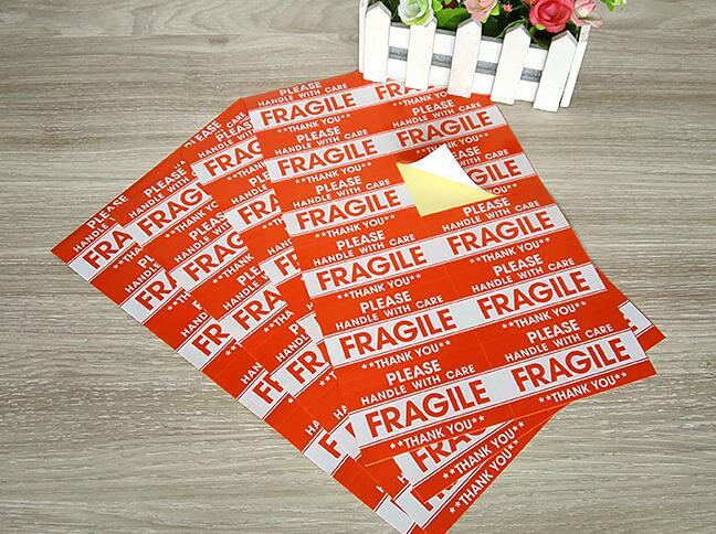 cuidado frágil adesivos 9cm x 5cm etiqueta de advertência expressa