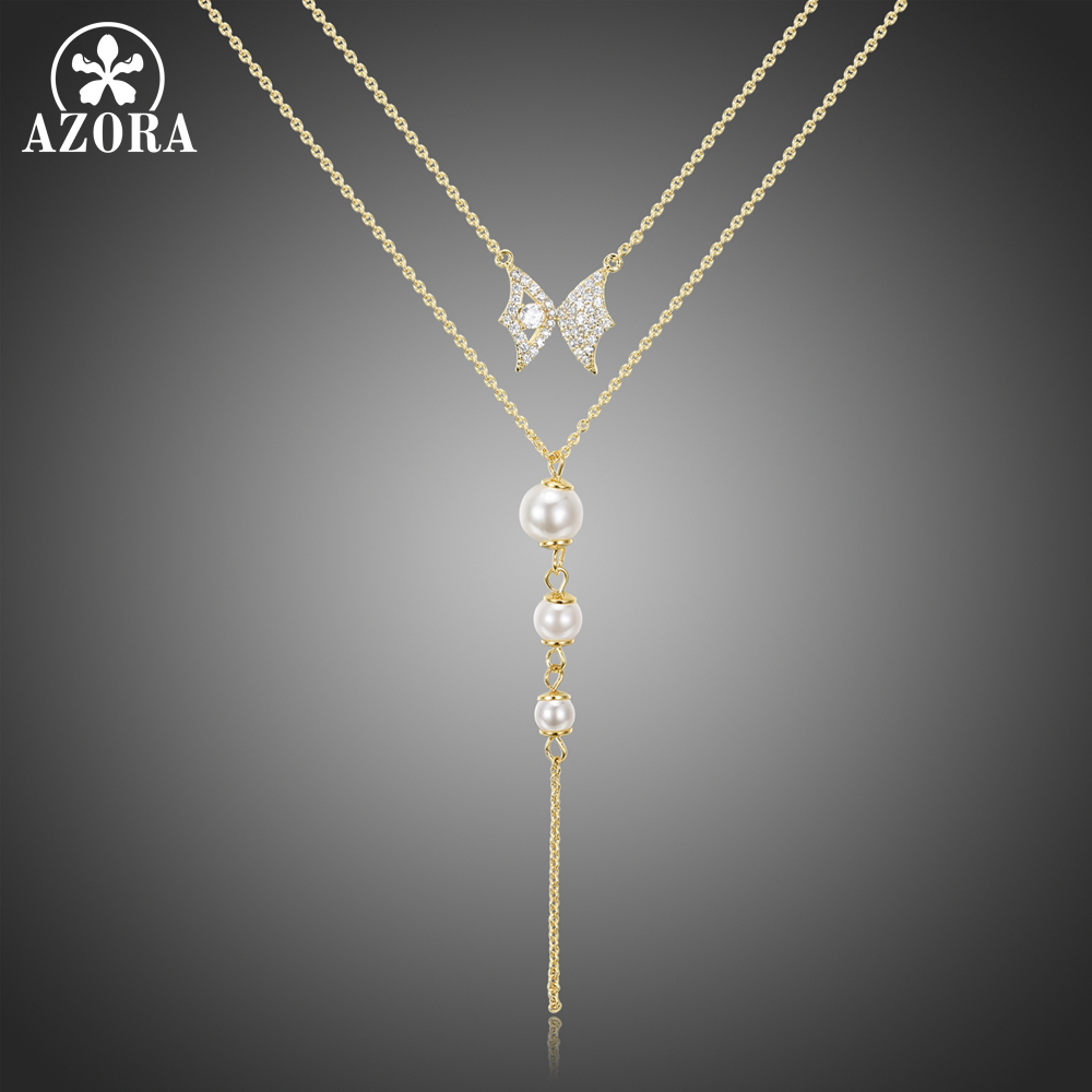 AZORA Double Chain Luxury Clear Cubic Zirconia Butterfly Pearl Pendant Necklace for Women Sweater Chain Tassel Jewelry TN0281(China)