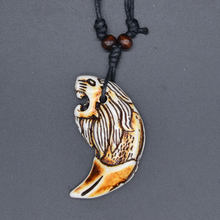 UMGODLY Cool Retro Punk Lion Pendant Power Tribal Wood Beads Choker Wolf Tooth Necklace Talisman Imitation Yak Bone Jewelry(China)