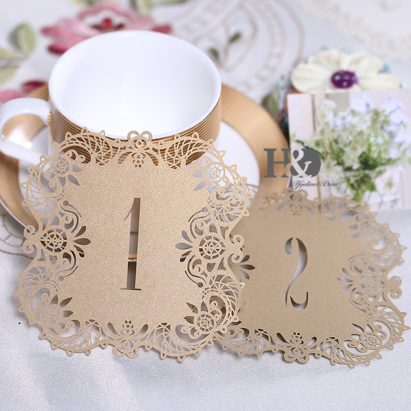 10pcs set meakin hollow lace table number table cards from for Vintage wedding decorations