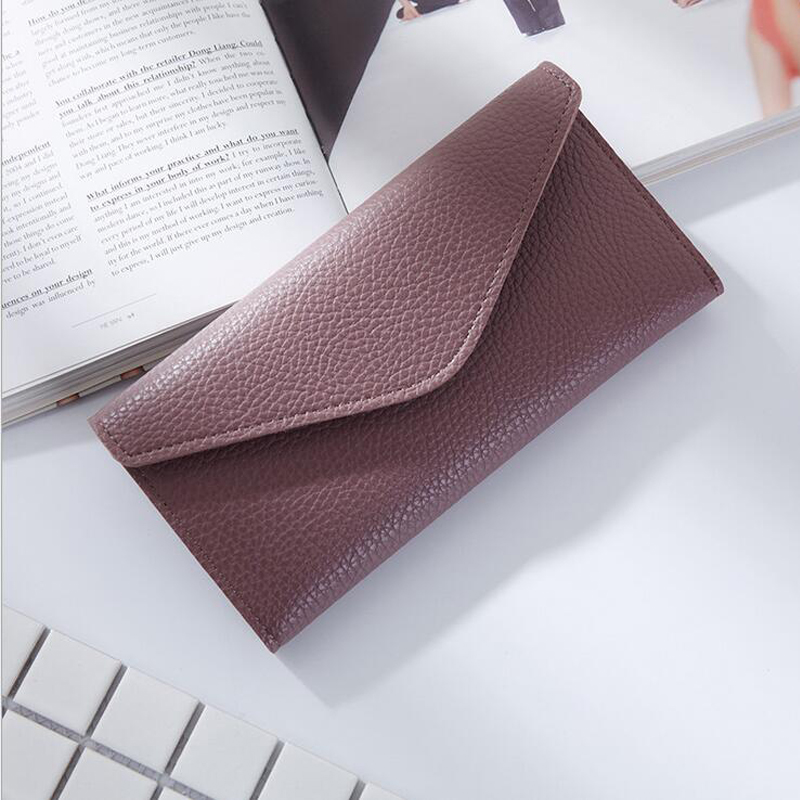 Women Envelope Wallet Multifunctional Super Thin Purse  Litchi Pattern Hasp Long Style Three Folding Closure Bank Card Money Bag women agraffe wallet multifunctional zipper purse long style closure huge capacity fashion hand money bag more card slots for ph