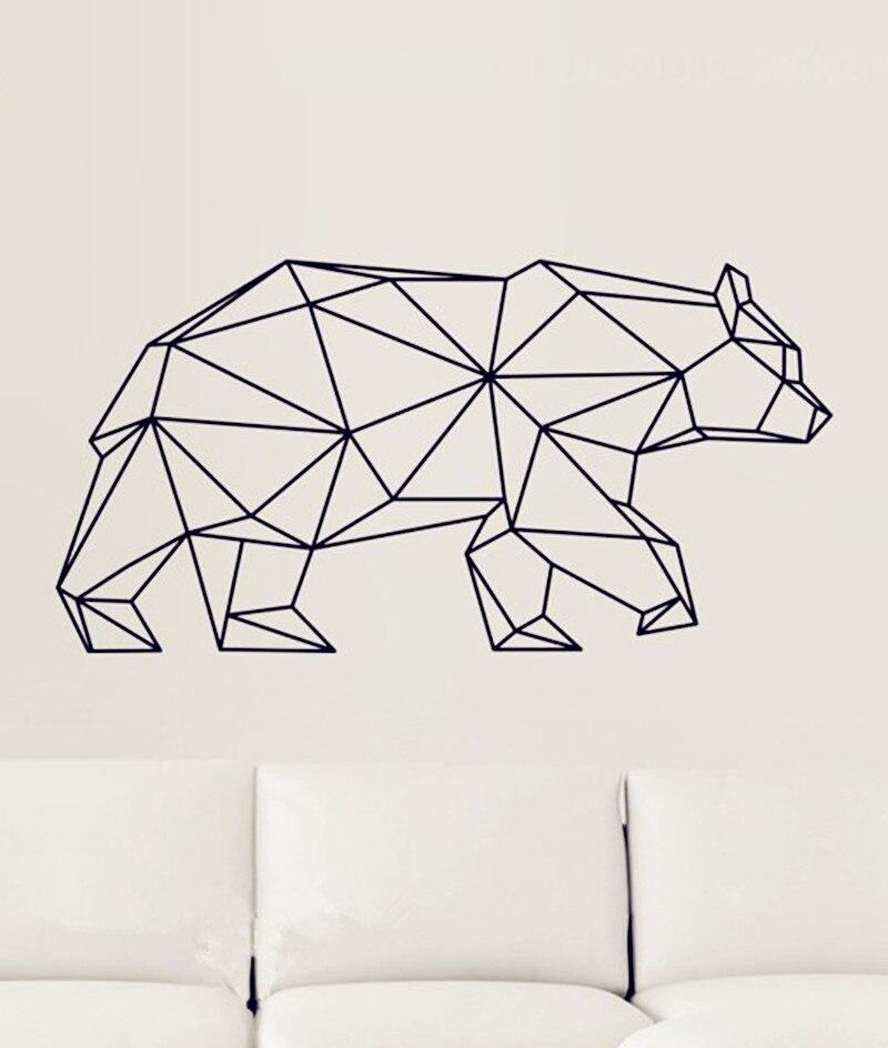 Geometric Animals Vinyl Bear Wall Stickers Home Decor For