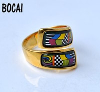 Cloisonne enamel ornaments ring decorated with thick gold ring water street cartoon