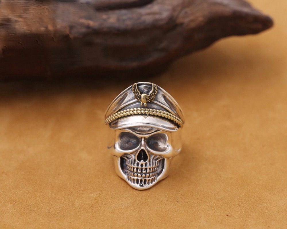 DL S925 argent seconde guerre mondiale soldat anniversaire hommes anneaux Punk Rock Vintage taille réglable anneau de crâne Biker hommes bijoux J137