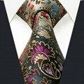 Padrão Floral Multicolor Dos Homens Gravata do laço 100% Silk New Jacquard tecido Azul Modas Laço Dos Homens Dos Homens Casual Vestido de Noiva Pescoço empate