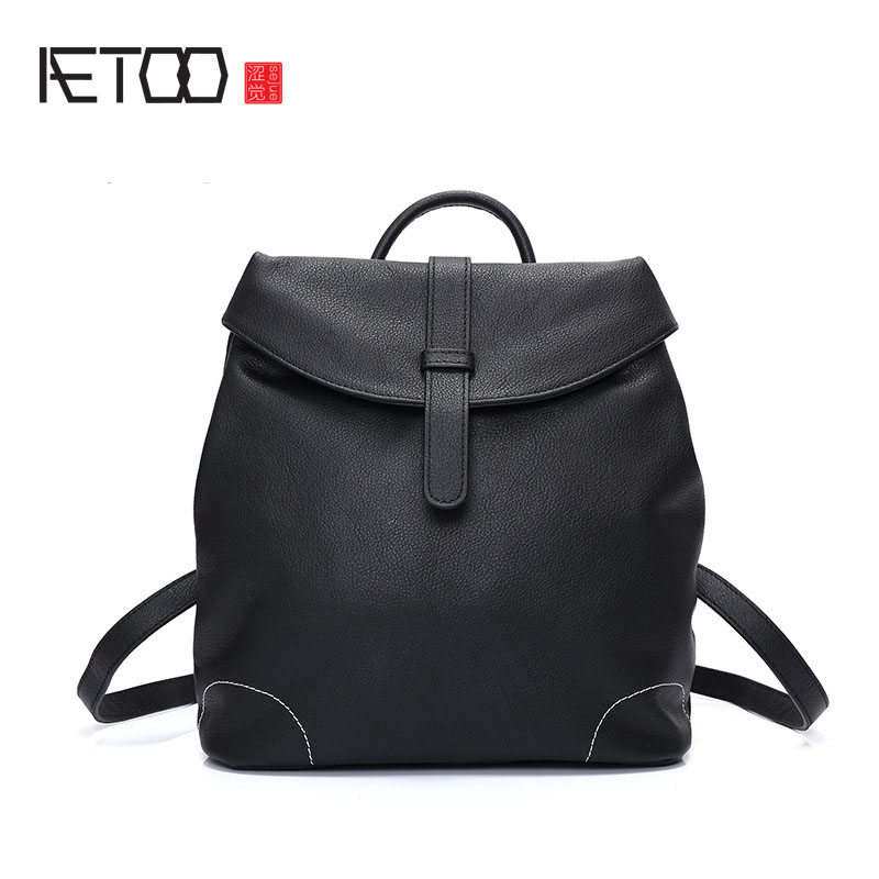 AETOO Retro leather shoulder bag 2017 new female package head layer cowhide classic fashion wild travel backpack female aetoo the new female bag of fringes blooming bag bag ring package retro iron ring portable shoulder messenger bag
