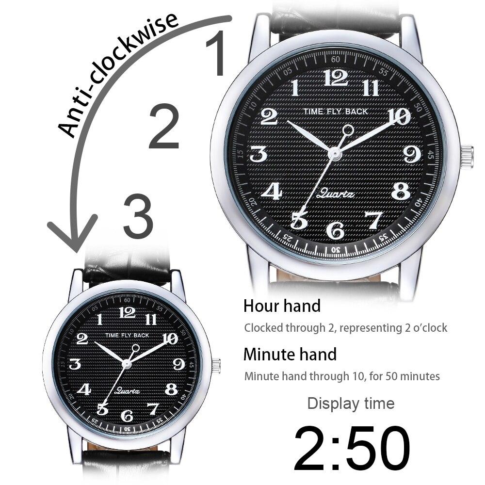 Image 2 - Quartz Watch Men Leather Steel Counterclockwise Backward Scale Oil Embossing Dial Waterproof Reverse Watch Boy Student Men WatchQuartz Watches   -