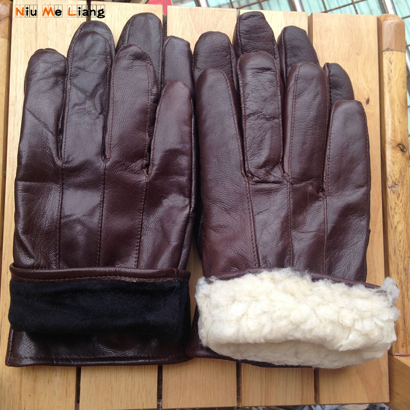 Mittens Leather gloves Male Winter Real Leather Short Thin/Thick Touched Screen Glove Man Gym Luvas Car Driving Brown/black G11