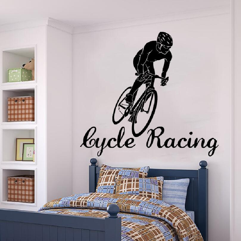 wall decal cyclist cycle racing sports vinyl sticker athlete home