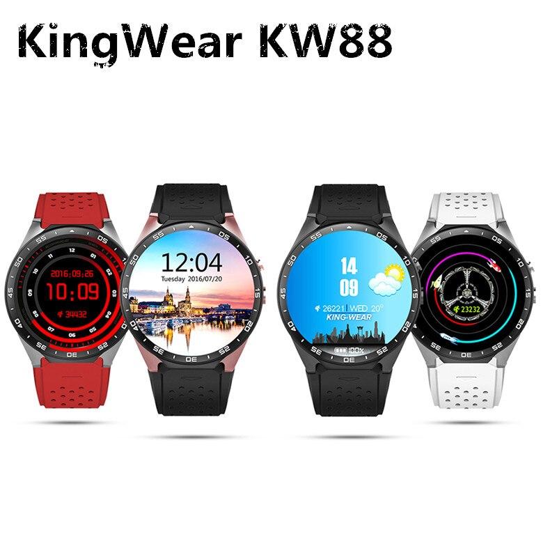 KingWear KW88 Smart Montre Téléphone Android 5.1 1.39 ''Caméra D'enregistrement 3g Smartwatch MTK6580 1.39 ghz GPS Podomètre Voix assistant