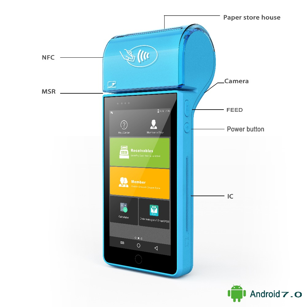 Бесплатная доставка 5 сбора данных беспроводной Android 7.0 pos портативный мобильный 4 г платежной системы PDA 58 мм тепловой принтер nfc-платежей