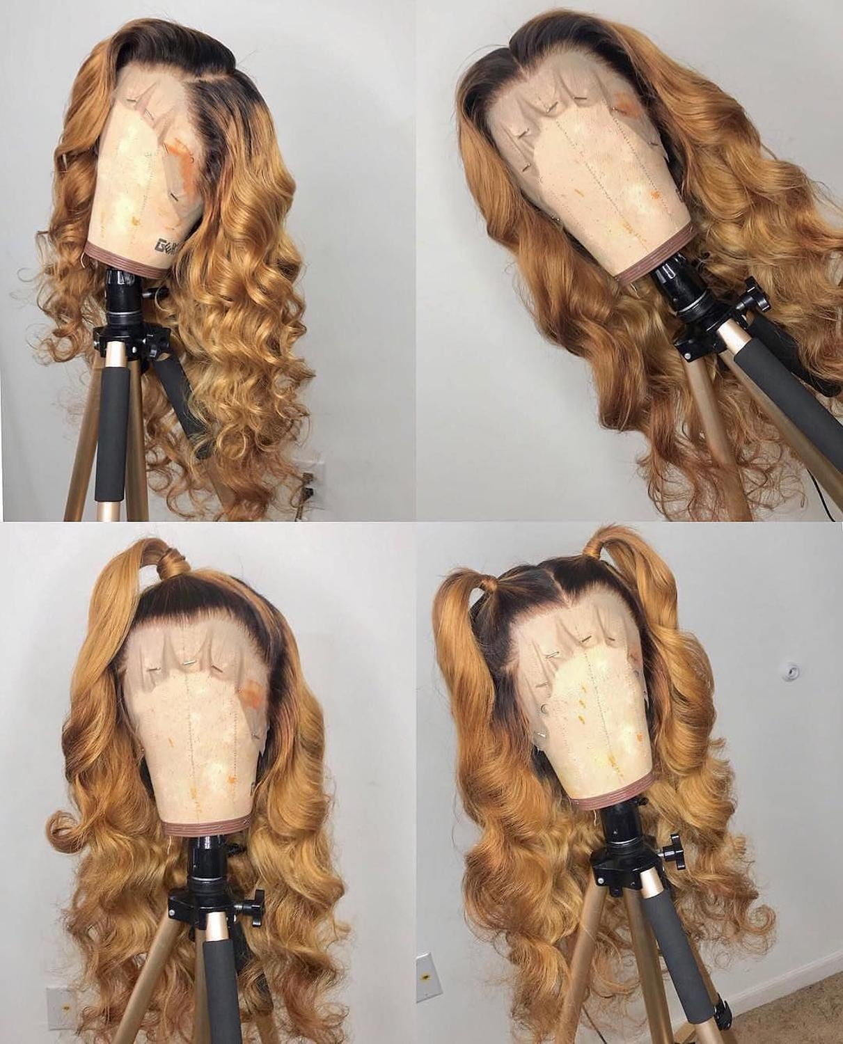 1B 27 Ombre Color Honey Blonde Lace Front Wig Brazilian Loose Wave Remy Hair Ombre Human Hair Wigs Pre Plucked Bleached Knots