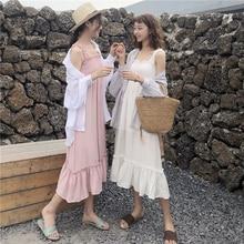 Wrap Dress Kawaii Pink Midi Vintage Bandage Draped Solid Summer Dresses and Sundresses Harajuku Mori Girl Korean