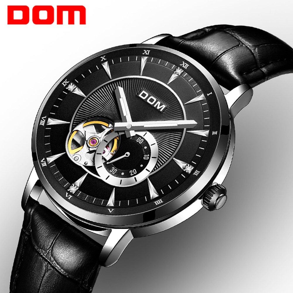 Luxury DOM Watch Men Mechanical Watch Big Dial Leather Band Montre Homme Luminous Hands Hollow Automatic Wristwatch Relojes Gift hollow out dial design automatic mechanical watch with metal band for men tevise 8377003