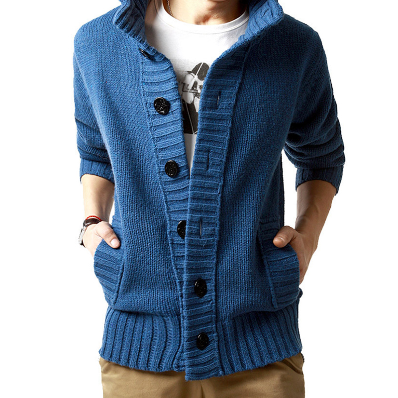 Winter Korean Fashion Men's Thick Sleeve Long Jacket Fashion Casual Slim Loose Collar Button Knit Solid Color Sweater For Men