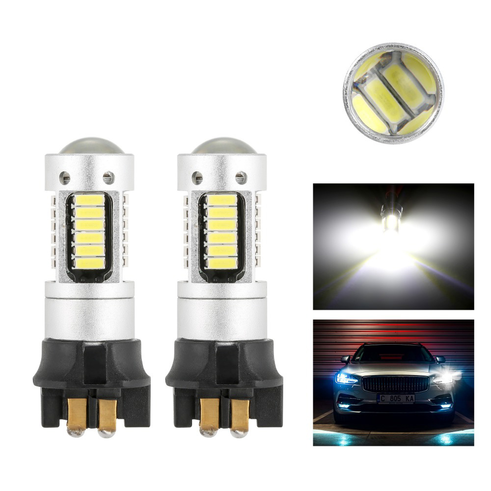2pcs Canbus OBC <font><b>PW24W</b></font> PWY24W LED Bulbs Turn Signal Lights For Audi A3 A4 Q7 BMW Volkswagen Daytime Running Lights White Yellow image