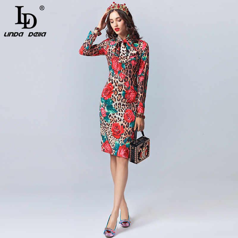 LD לינדה דלה אופנה מעצב סתיו שמלת נשים של ארוך שרוול קשת צווארון סקסי Leopard מודפס עלה פרחוני אלגנטי שמלה 2019
