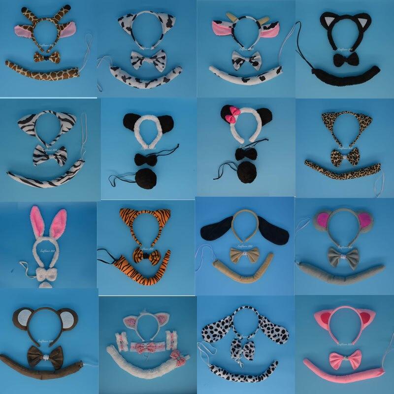 נערה נערה בעלי חיים האוזן Headband Tail Bow - חגים ומסיבות