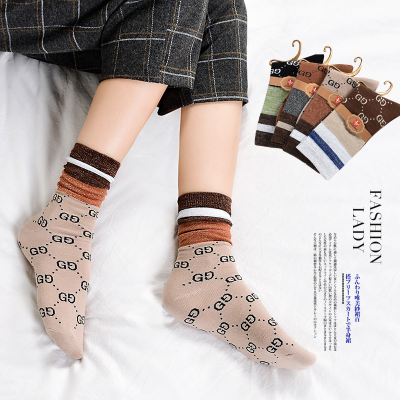 Kinds Of Gold And Silver Silk Pile   Socks   Japanese Fashion Cotton Bottom Female   Socks   Factory Direct Selling Women   Socks   Casual