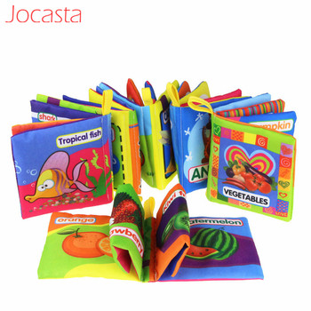 Jocasta zabawki dla niemowląt wózek dla zwierząt grzechotka książeczki z miękkiego materiału tkaniny dla zwierząt książka dla dzieci zabawki edukacyjne wczesna edukacja dla dzieci] tanie i dobre opinie 3 lat DMCP1356 Multicolor Toys For Children Books For Children 11*10cm Animals Number Car Fruit Vegetable Marine Life