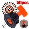 50 stks/set Tegel Spacers Leveling Positionering Systeem Leveler T-Lock Vloeren Leggen Tool Met Sleutel Voor Vloeren Muur Posi