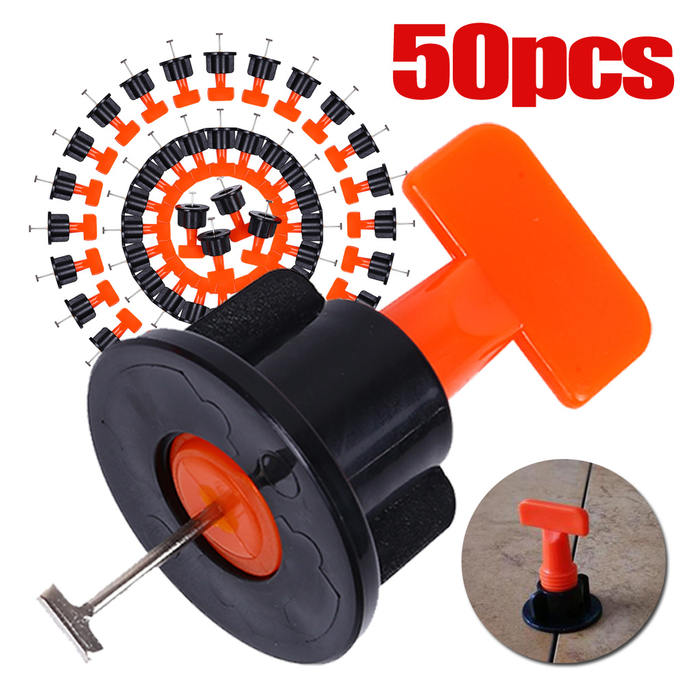 50pcs/set Tile  Spacers Leveling Positioning System Leveler T-Lock Flooring Laying Tool With Wrench For Flooring Wall Positionin