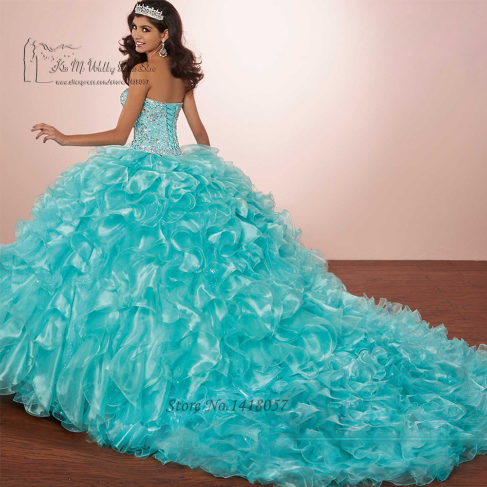 Robes de 15 Anos rouge Turquoise Quinceanera 2017 robe de bal robes de bal robes de Debutante balayage Train robe douce 16