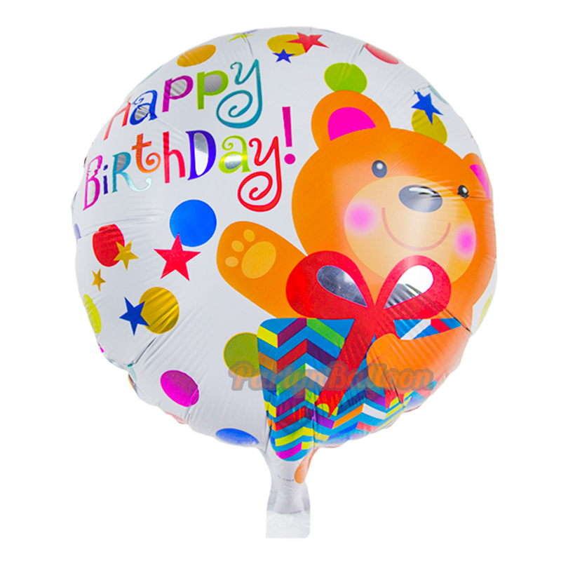 Cute Bears Animals Cartoon Birthday Balloon, Happy Birthday Letter Foil Balloon