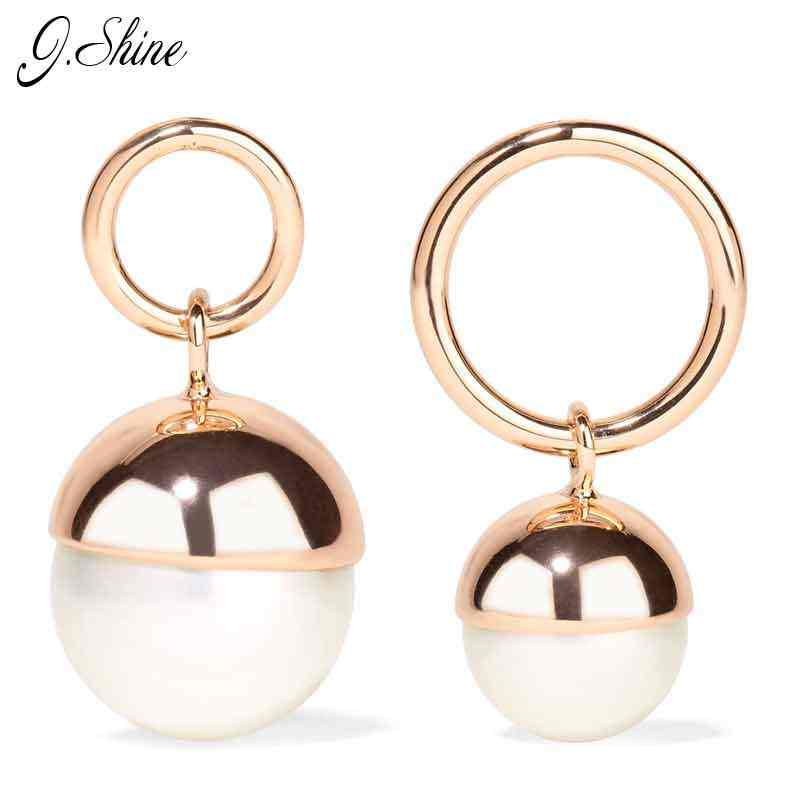 Big Brand Design Asymmetric Simulated Pearl Jewelry Gold Color Drop Earrings for Women Boucle D'oreille Brincos Christmas Gifts