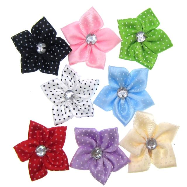 30Pcs Handmade Mixed Satin Dot Ribbon Flower Acryl Rhinestone Fabric  Flowers Applique Craft Wedding Decorations 3.5cm dcae7348b6bc