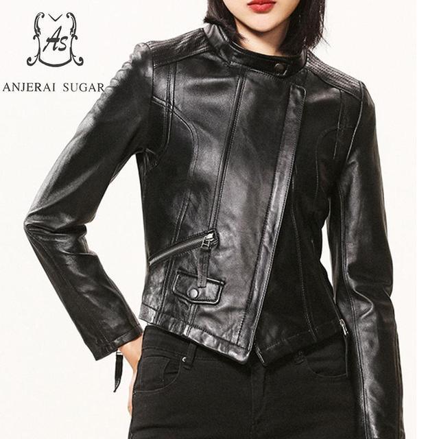 Plus Size sheepskin genuine Leather jacket women coat female black Stand collar irregular Motorcycle cazadoras de cuero mujer