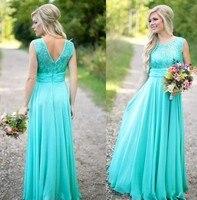 Turquoise Blue Bridesmaid Dresses 2016 Lace Vestido De Festa De Casamento Scoop Neckline Long Chiffon Bridesmaid