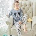 Ropa de mujer Set Pijamas Embarazadas Establece Maternidad Ropa de Dormir de Algodón Suave Camisetas de Manga Larga y Pantalones de Maternidad Pijamas de Mickey Mouse