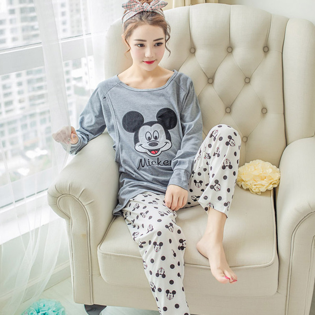 Women Clothes Set Pregnant Pajamas Set Maternity Sleepwear Soft Cotton Long Sleeve Tops&Pants Maternity Pajamas Mickey Mouse