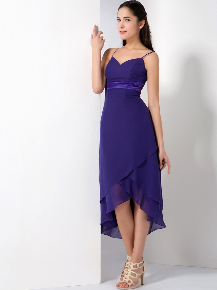 Purple High Low Informal Bridesmaid Dresses Spaghetti Straps Informal beach  Chiffon Short Front Long Back Maids of Honor Dress-in Bridesmaid Dresses  from ... 9e56e5c9e176