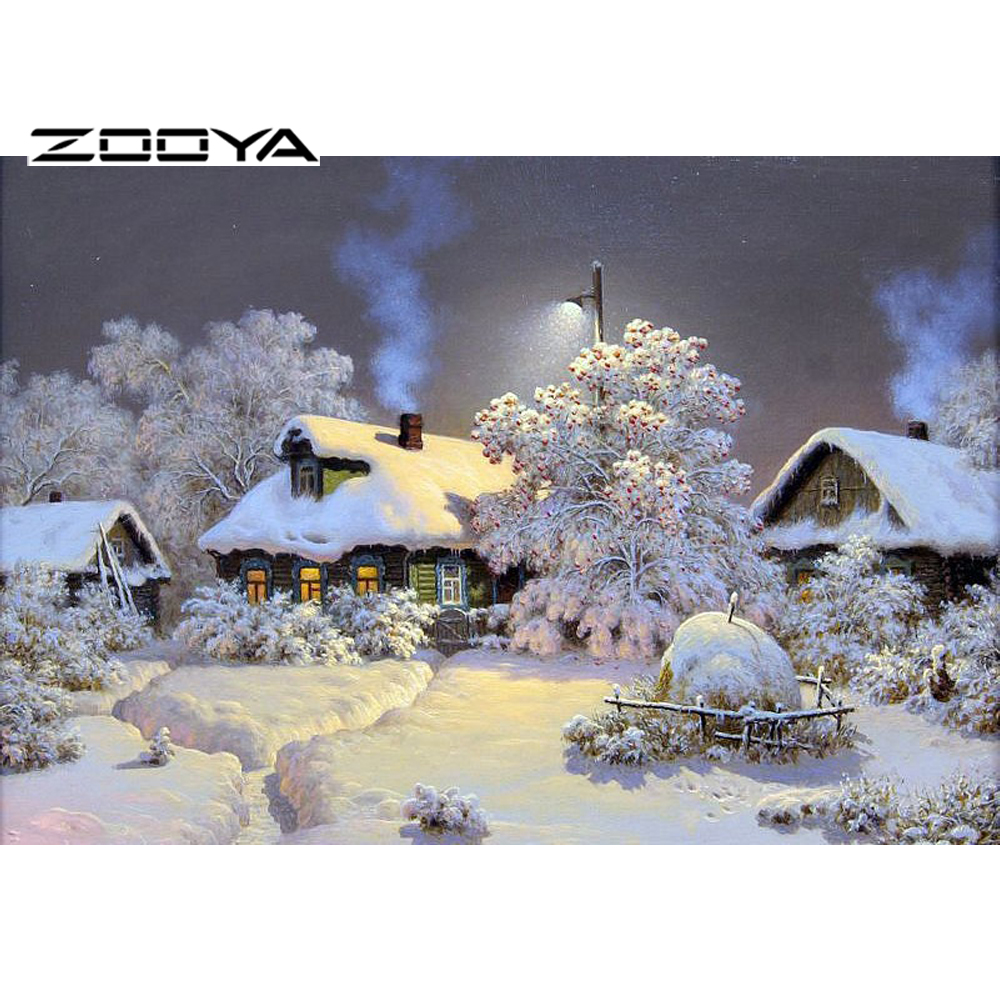 ZOOYA Needlework Diamond Painting Beautiful Snow Winter Landscape Diamond Embroidery All Drill Rhinestone Mosaic Picture RF465