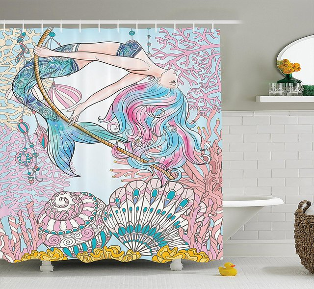 Merveilleux Memory Home Mermaid Shower Curtain Fabric Waterproof Mildewproof Polyester  Bathroom Decor Set With Hooks