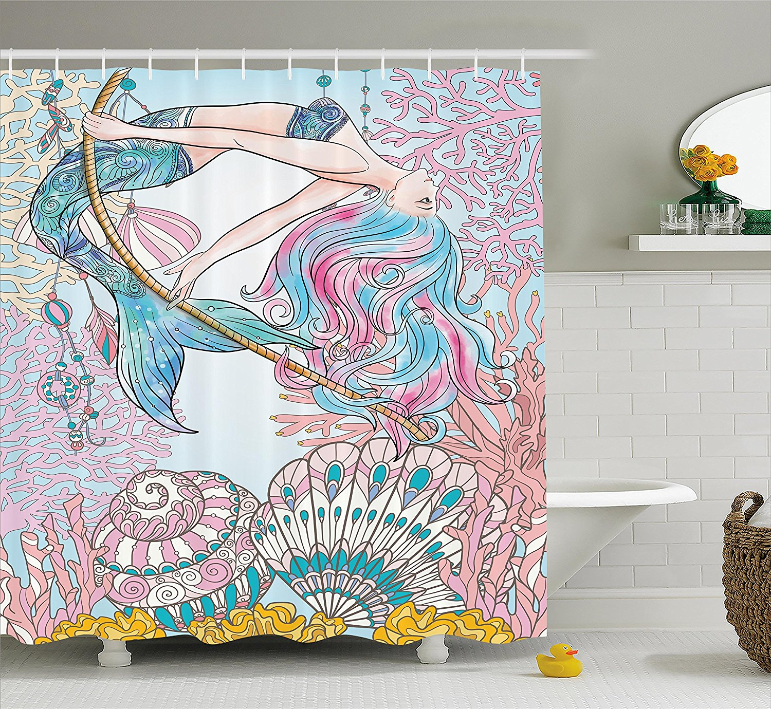 Mermaid shower curtains - Memory Home Mermaid Shower Curtain Fabric Waterproof Mildewproof Polyester Bathroom Decor Set With Hooks China