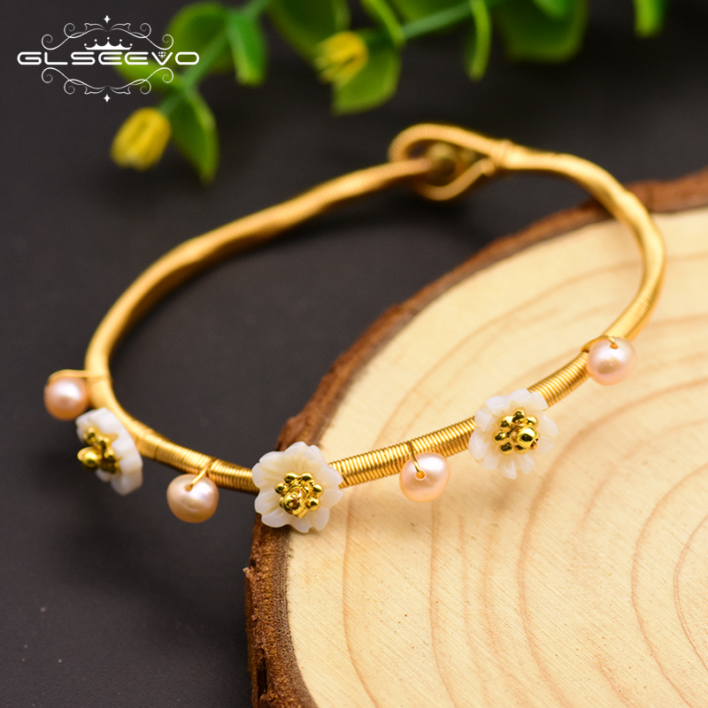 GLSEEVO Natural Fresh Water Pearl Adjustable Bracelet & Bangle For Women Shell Flower Bracelets Jewellery Bileklik Bayan GB0045GLSEEVO Natural Fresh Water Pearl Adjustable Bracelet & Bangle For Women Shell Flower Bracelets Jewellery Bileklik Bayan GB0045