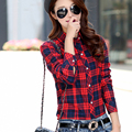 2017 New Women Autumn Winter Warm Plaid Shirt Plus Thick Velvet Slim Female Long Sleeve Womens Casual Blouse Tops Q4334