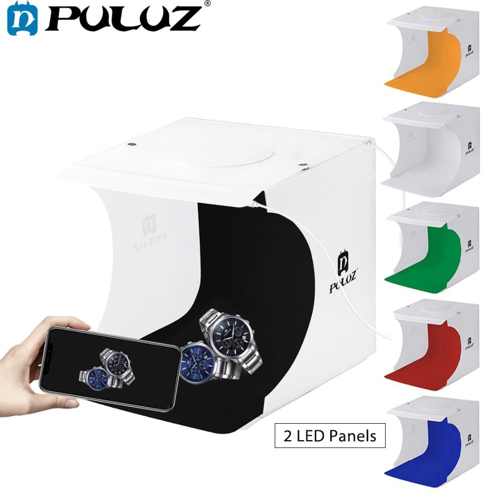 PULUZ 2LED Leuchtkasten Licht box Mini Foto Studio Box 1100LM Fotografie Box Licht Studio Schießen Zelt Box Kit & 6 farbe Kulissen