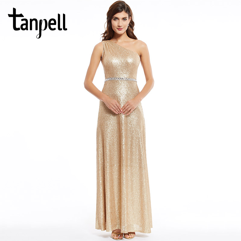 Tanpell sequins evening dress golden one shoulder floor length prom gown sleeveless beaded sashes a line formal evening dresses