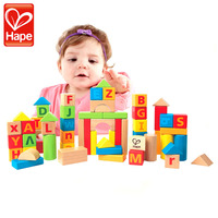 HAPE 60PCS Solid Wooden Cube Letter Geometry Blocks Alphabet Creative Fun Early Educational Assemblage Toy for Baby Infant Kids
