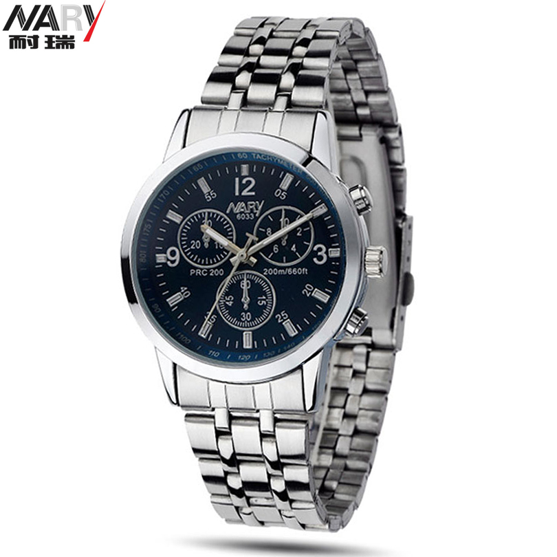 2015 Orologio Uomo Brand New With Tags Nary Stainless Steel Strap Analog Quartz Wrist Watch Men 3 Dial Decorated Fashion Watch essential nary wristwatch bangle bracelet luxury men stainless steel classical quartz analog wrist watch gift 17tue27
