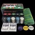 Ano novo-conjunto de Barganha! LIVRE de IMPOSTOS! Fichas de Poker Set-200 pcs Poker chips & table cloth & Revendedor Blinds & Jogando cartas