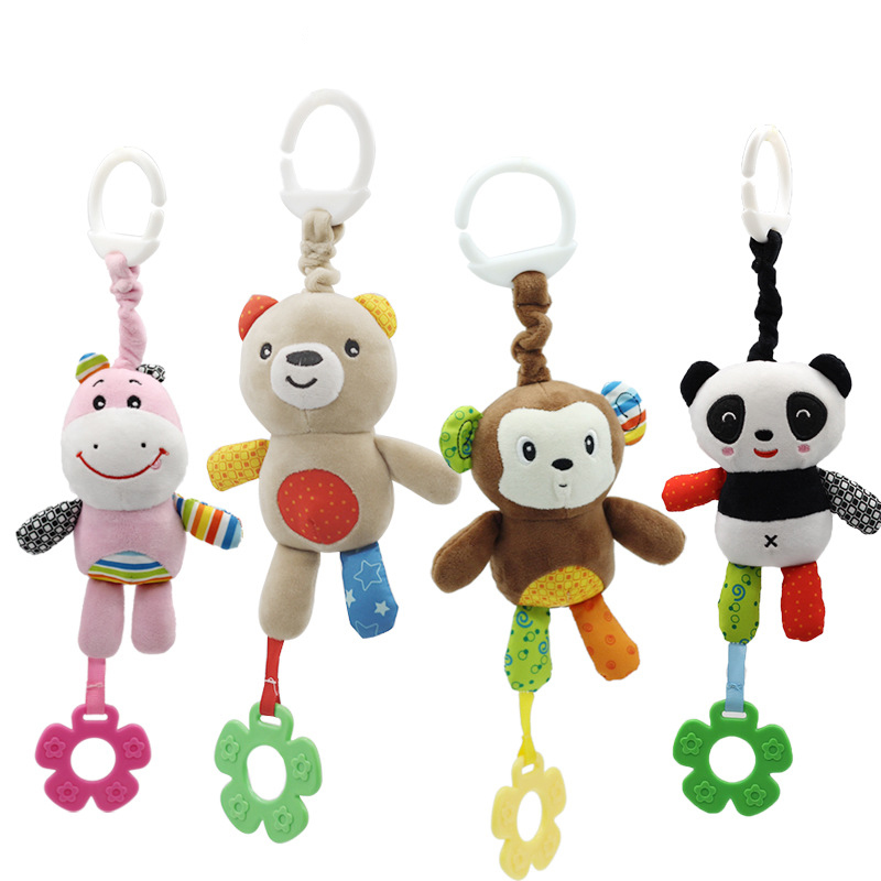 Baby Kids Rattle Toys Cartoon Panda Plush Hand Bell Newborn Stroller Crib Hanging Bear Mobiles Rattles Infant Toys With Teether