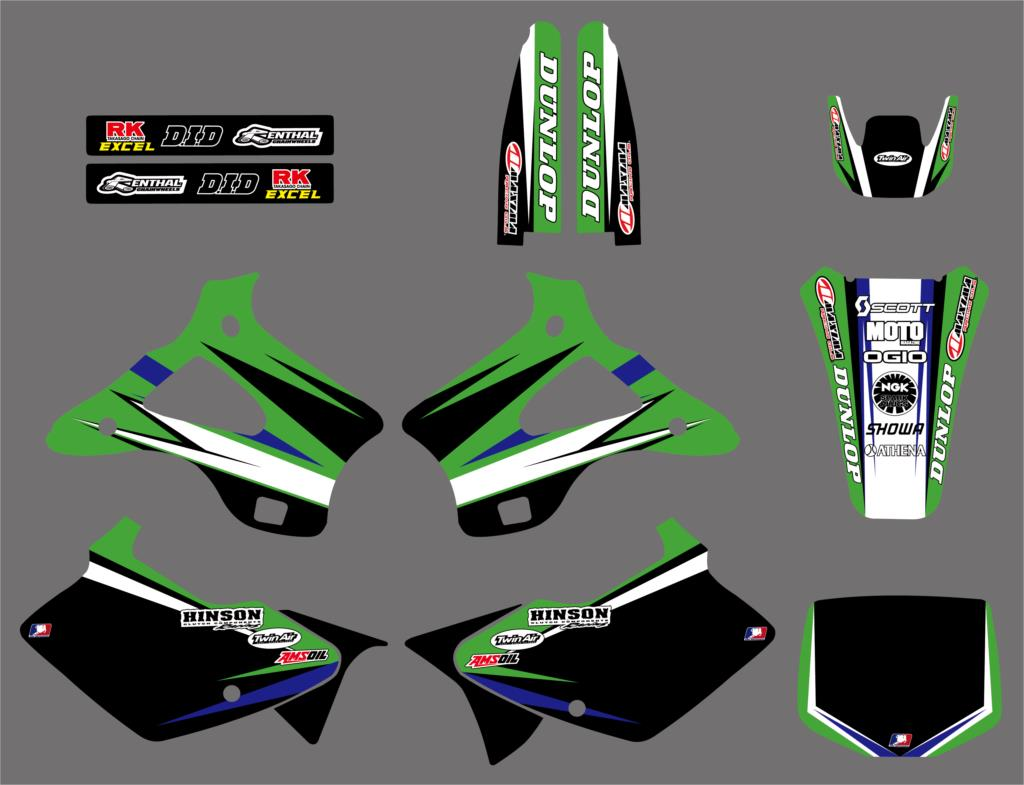 0219 New Style TEAM GRAPHICS & BACKGROUNDS DECALS STICKERS Kits for Kawasaki KX125 KX250 1994 1995 1996 1997 1998 KX 125 250-in Decals & Stickers from Automobiles & Motorcycles    2
