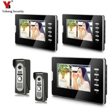 YobangSecurity 7″ Video Intercom Visual Doorbell Kits Door Phone System IR Night Vision intercom 2 Camera 3 Monitor for Home