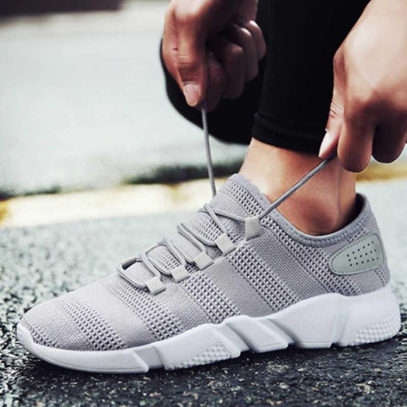 شين 2019 الصيف رجل تفلكن أحذية كبيرة حجم تنفس عارضة الرياضة الذكور رياضة شبكة الهواء المدربين الدانتيل متابعة حذاء مسطح