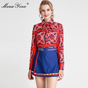 Image 3 - MoaaYina แฟชั่นชุดฤดูใบไม้ผลิฤดูร้อนผู้หญิงแขนยาวลายดอกไม้   พิมพ์เสื้อ + กางเกงขาสั้นสองชิ้นชุด